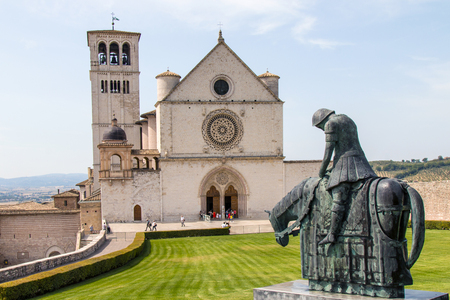 of assisi: Assisi, Italy - 31 August 2017: View of the Papal Basilica of St. Francis of Assisi