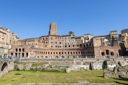 The Markets of Trajan constitute an extensive complex of Roman buildings in the city of Rome, on the slopes of the Quirinal hill. 版權商用圖片