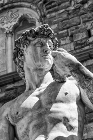 detail of the statue of David by Michelangelo in Piazza della Signoria in Florence, Italy