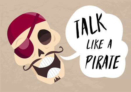 Fun cartoon skull saying Talk like a pirate.