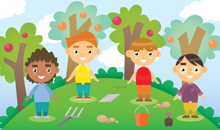 Cartoon illustration of four little gardeners with garden tools. Playing in the yard. International friends. Ilustracja