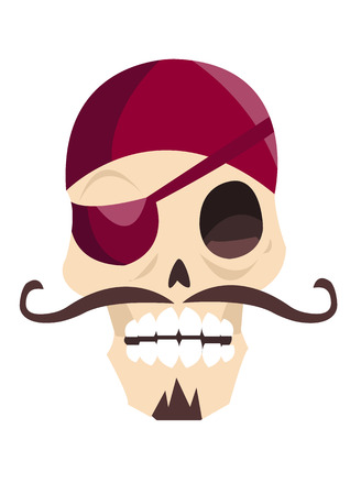 Jolly roger funny cartoon skull isolated on white background. Trendy flat illustration for Talk Like a Pirate Day. Scary awful character for Halloween postcard.
