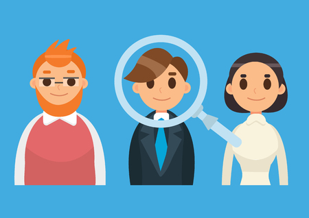 Headhunting and Recruitment illustration with candidate people. Flat icon vector illustration. Magnifying Glass.