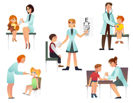 Kids visit a doctor cartoon flat vector illustration. Pediatrician and examine a patient. Isolated on the white background