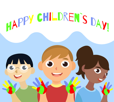 Cartoon vector illustrtation with three kids. 20th November Universal Children s Day poster. National children day composition. Asian, european and african childrens. children show hands