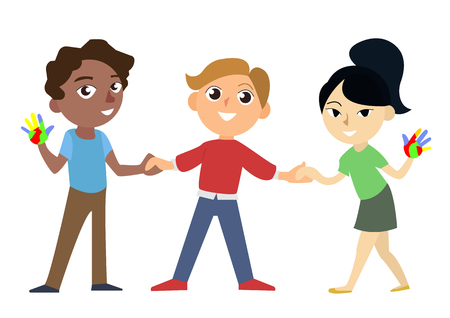 International happy and smiling african european and asian childrens holding hands. Universal children s day vector illustration. Three characters isolated on the white background. Vettoriali
