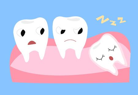 Muela de juicio. Ilustración de vector de dibujos animados de dientes divertidos emocionales. Vectores
