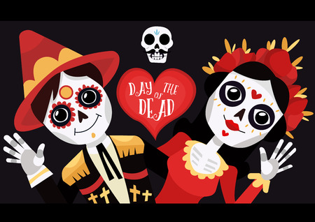 Dag van de dode poster. La Calavera Catrina. Grappige schedels. Cartoon vectorillustratie Stockfoto - 87891227
