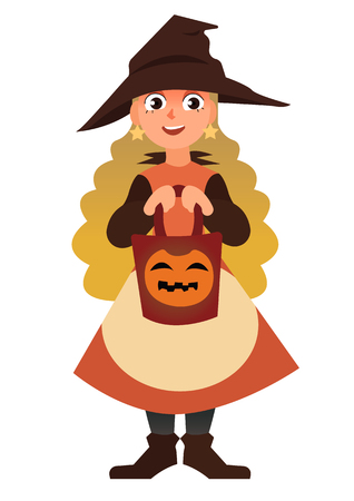 Little Witch with a basket. Cute cartoon vector Halloween character isolated on the white background Illustration