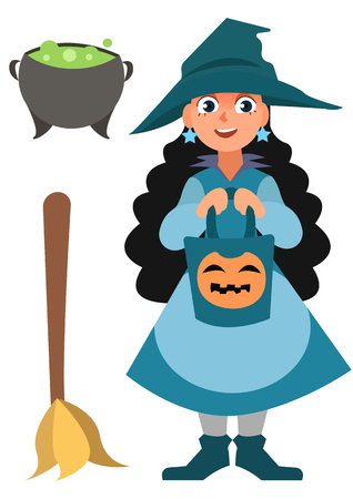 Halloween-Set. Kleine Hexe, Topf und Besen. Lustiger Karikaturvektor Halloween-Charakter lokalisiert auf dem weißen Hintergrund Standard-Bild - 88598222