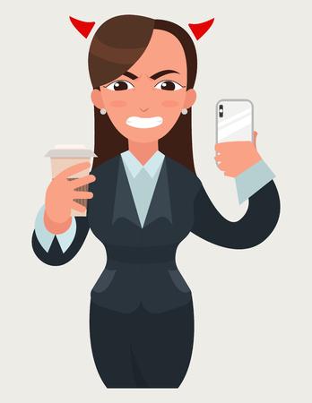 Negocio enojado enojado con cuernos de diablo mujer con una taza de café y teléfono inteligente. Mujer divertida caricatura en ilustración de estilo de vector plano. Expresión de la empresaria Foto de archivo - 88547071