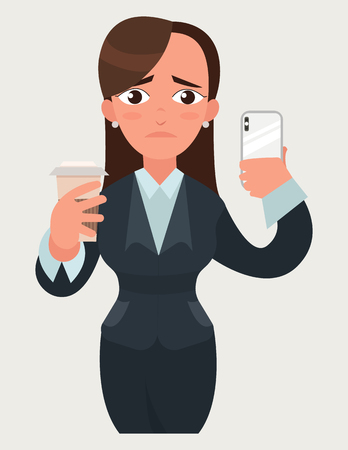 Sad beautiful business woman with a cup of coffee and smartphone. Funny cartoon woman in flat vector style illustration. Businesswoman expression