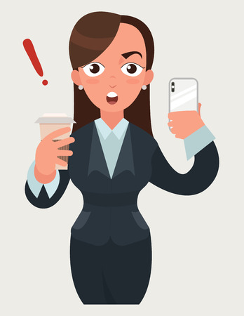 Surprised beautiful business woman with a cup of coffee and smartphone. Funny cartoon woman in flat vector style illustration. Businesswoman expression