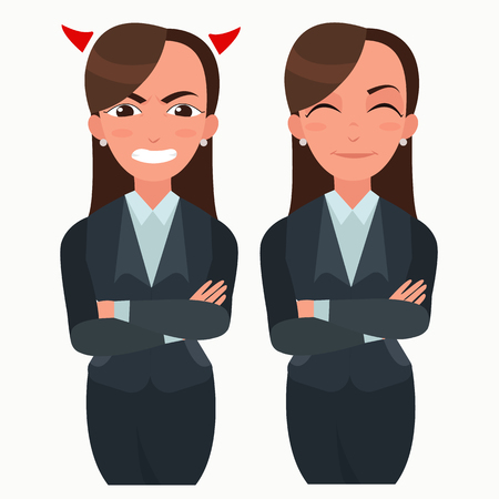 Business woman set. Office worker with different emotions. Woman standing folded hand. Girl expressions set Stock Vector - 88598221