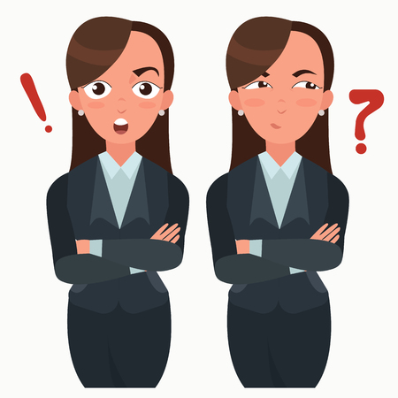 Business woman set. Office worker with different emotions. Woman standing folded hand. Girl expressions set