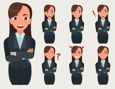 Business woman set. Office worker with different emotions. Woman standing folded hand. Girl expressions set Stock Vector - 88598232