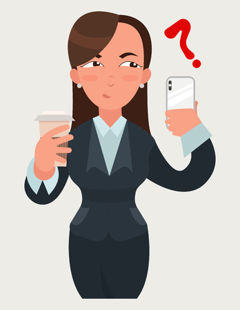 Business woman expressions. Woman with a coffee and a smartphone.  Suspicious emotion