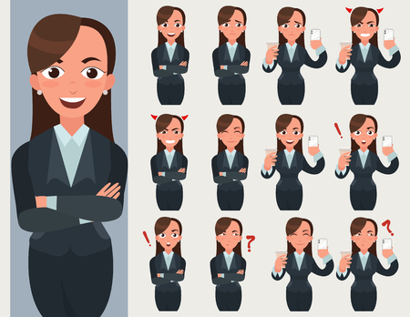 Business woman set. Office worker with different emotions and poses. Woman standing folded hand. Girl expressions set