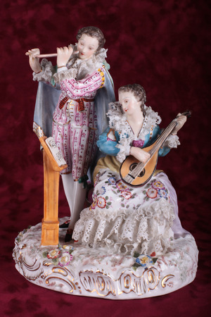 lute: music duet for flute and lute Stock Photo