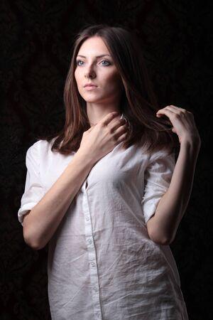 blouse: girl in white blouse Stock Photo