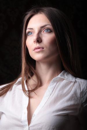 white blouse: girl in white blouse Stock Photo