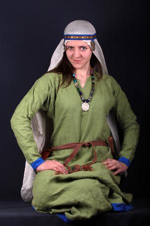 slavs: the girl sitting national dress Slavs 16th centur
