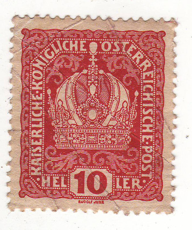 20th century: postage stamp from the early 20th century with the image of a crown, the price of 10