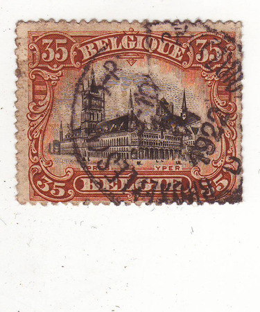 maturity: Belgian postage stamp depicting the Palace, the price of 35, the maturity date of 1922