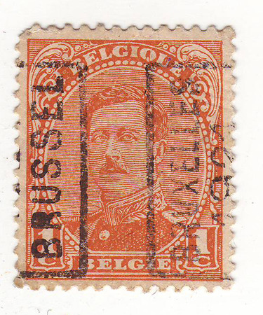 Belgian postage stamp, depicts a man in military uniform, price 1, maturity date in 1921 Stock Photo