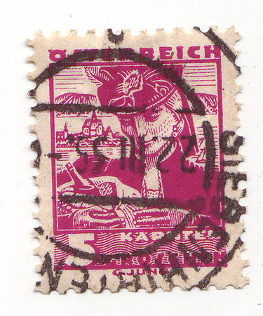 depicts: the stamp depicts a woman, lilac, price 5, 1935 repayment