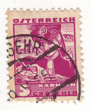 depicts: the stamp depicts a woman, lilac, price 5, 1925-maturity