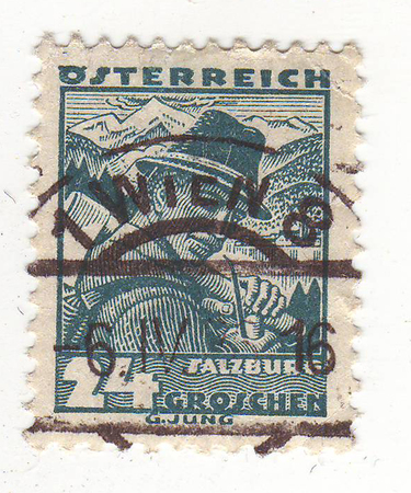 depicts: the stamp depicts a man, blue, price 24, 1916 maturity