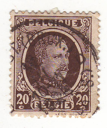 maturity: Belgian postage stamp, depicts a man in military uniform, black and white, price 20, 1928 maturity