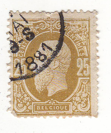 maturity: Belgian postage stamp, depicts a man in military uniform, purple, price 25, 1881 maturity