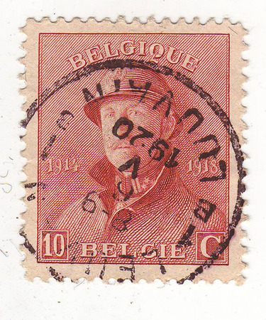 maturity: Belgian postage stamp, depicts a man in military uniform, lilac, price 10, 1920 maturity