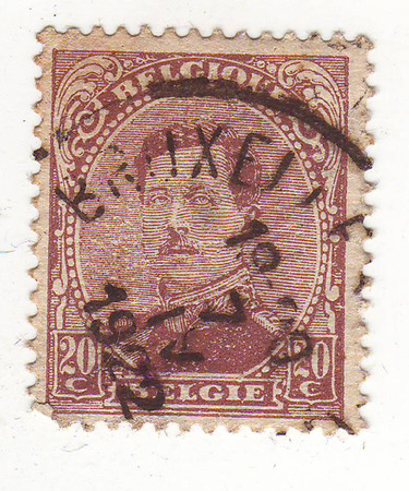 old letters: Belgian postage stamp, depicts a man in military uniform, lilac, price 22, 1922 repayment