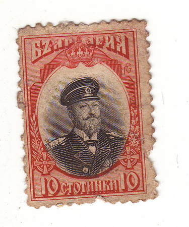 forwarding: the image of a man in military uniform on red brand, price 10 cents