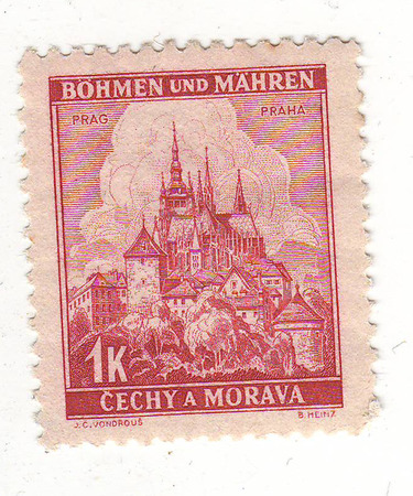 damping: the image of Prague on red brown brand, the price is CZK 1 without damping
