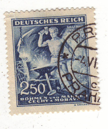2 50: the image of a blacksmith hammering a sword on the blue brand, price 2,50