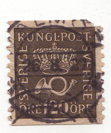 the image of a crown and horn on the brown stamp, the price of 120 Stock Photo