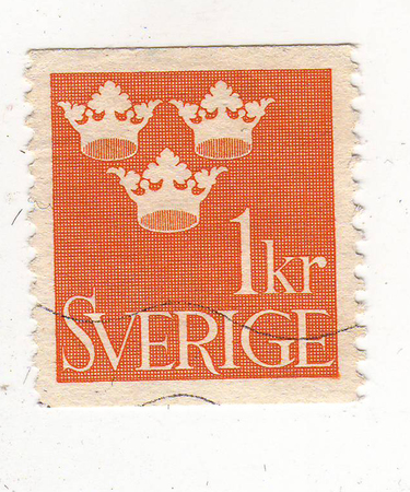old letters: the picture of the three crowns on the orange brand, the price is 1 Krone