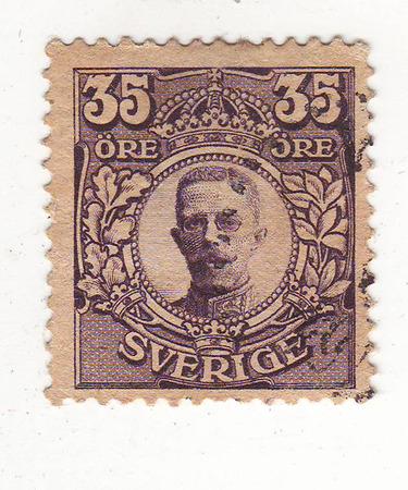cartas antiguas: la imagen del hombre en el uniforme púrpura en marca, precio 35 Foto de archivo