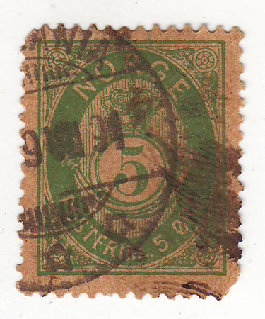 quenched: the image of a crown and emblems of the Norwegian mail green stamp, worth 5, quenched 1891