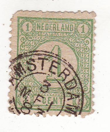 forwarding: the number 1, green brand, price 1 cents, Amsterdam Stock Photo