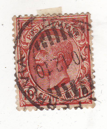 repayment: image of portrait of a man in military uniform on red brown stamp, price 10 cents, repayment date