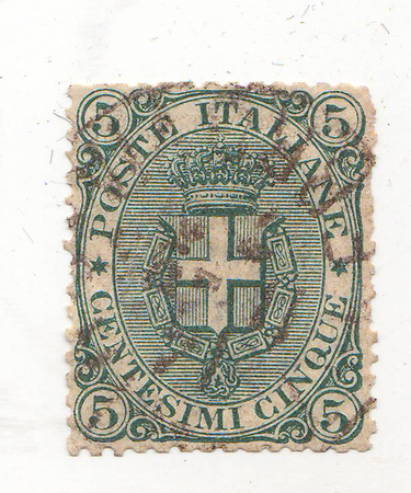 forwarding: the image of a crown and shield with cross on green brand, price 5