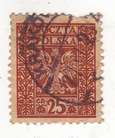 outspread: the image of a bird of prey with outspread wings on a red stamp, price 25