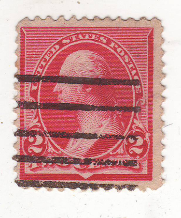 philately: image of portrait of man in profile on the red brand, price 2 cents