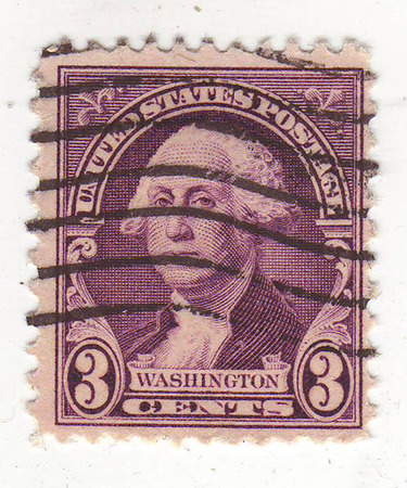philately: image of portrait of a man in a wig in a purple stamp, price 3 cents, Washington