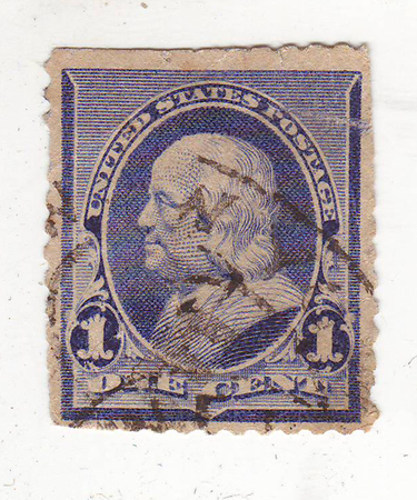 philately: image of portrait of man in profile on the purple stamp, price 1 cent
